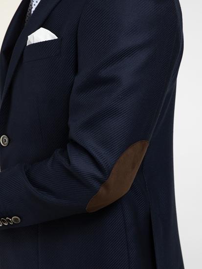Bild von Veston im Tailored Fit mit Struktur und Ellbogen-Patches