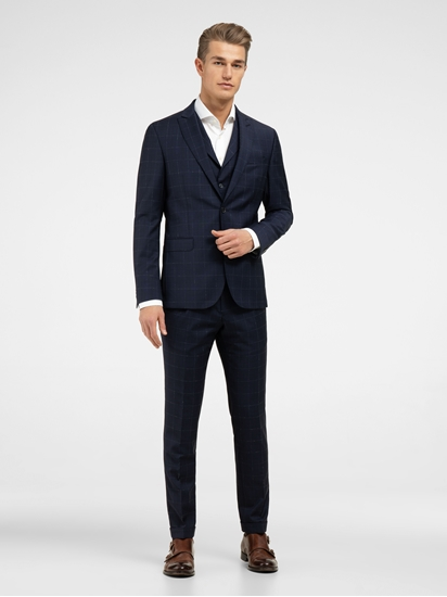 Bild von Anzug 3-teilig im Slim Fit mit Gitterkaro