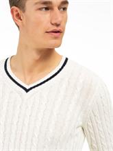 Image sur Pullover maille avec motif et rayures
