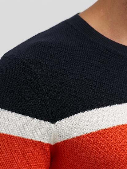 Bild von Strickpullover im Slim Fit mit Struktur und Streifen