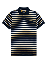 Image sur Polo-Shirt mit Streifen im Custom Fit aus Piqué