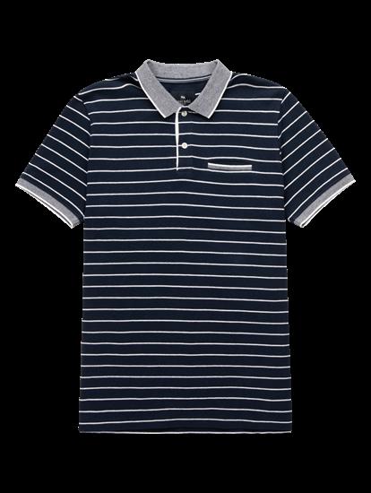Image sur Polo Custom Fit coton piqué à rayures