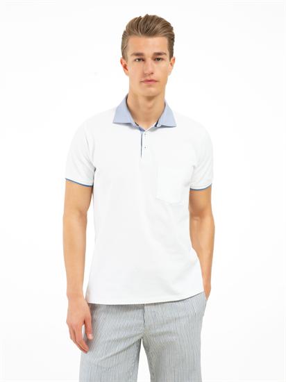 Image sur Polo Custom Fit coton piqué col contraste