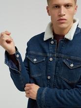 Bild von Wattierte Jeansjacke mit Teddykragen