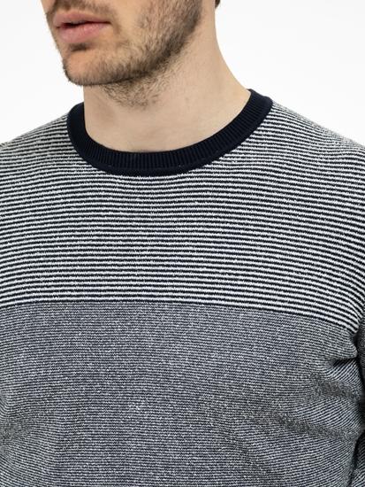Bild von Pullover in melierter Optik mit Streifen
