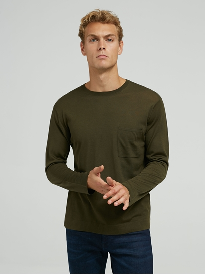 Image sur Pullover maille avec poche poitrine