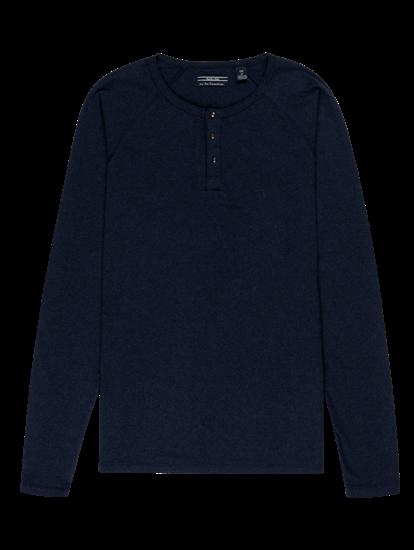 Bild von Shirt mit Serafino-Kragen und Streifen