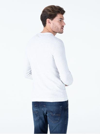Bild von Shirt mit Serafino-Kragen in melierter Optik