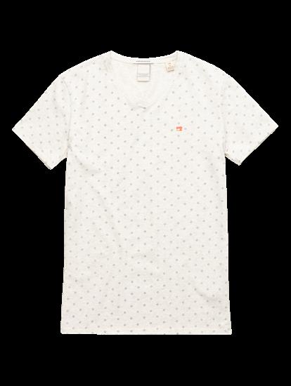 Image sur T-shirt moucheté et imprimé