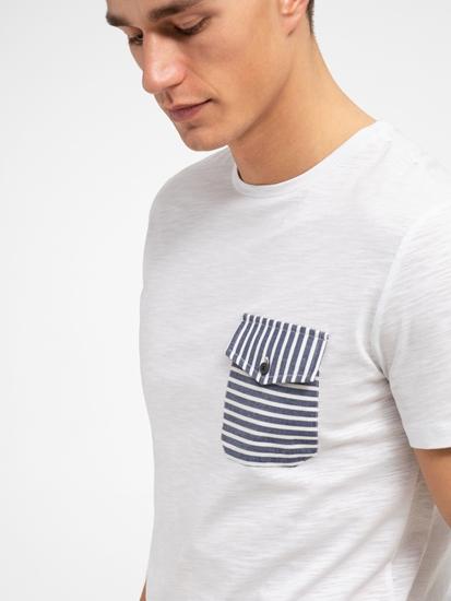 Image sur T-Shirt fil flammé avec poche poitrine