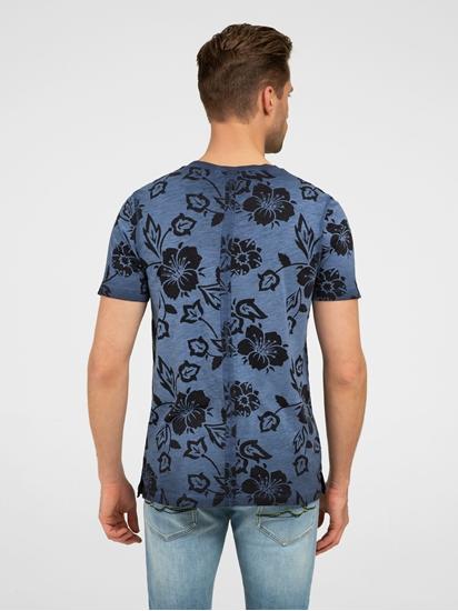 Image sur T-shirt fil flammé et imprimé floral