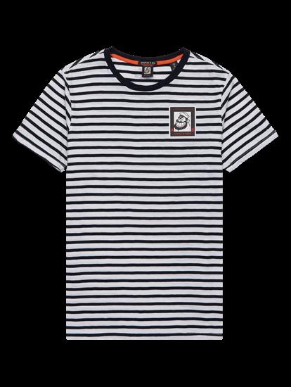 Image sur T-shirt à rayures et imprimé