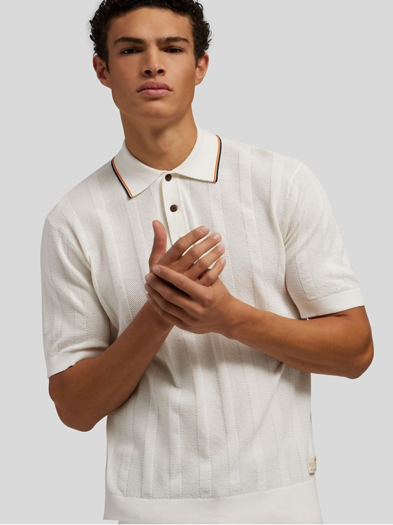 Image sur Polo avec rayures texturées