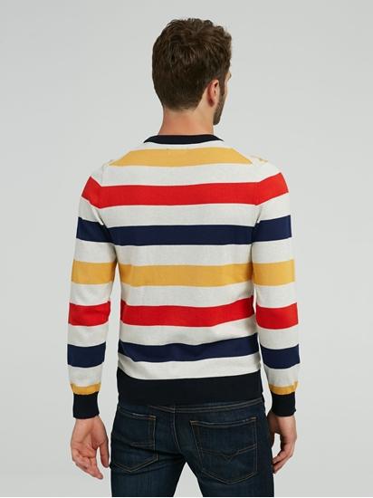 Bild von Pullover mit Streifen aus Strick