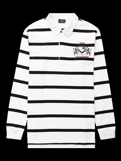 Bild von Rugbyshirt mit Streifen und Stickerei