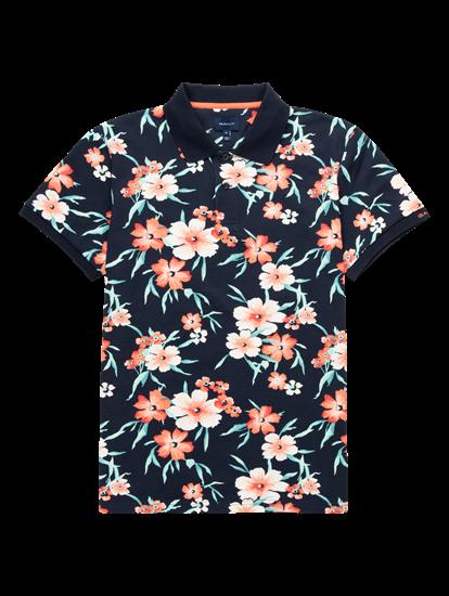 Image sur Polo coton piqué imprimé floral