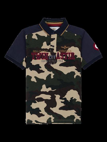 Bild von Polo-Shirt mit Camouflage-Print und Stickerei