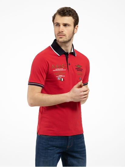 Bild von Polo-Shirt aus Flammgarn mit Applikationen