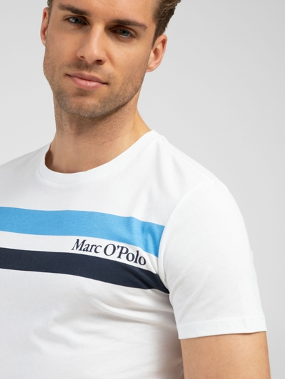 Bild von T-Shirt im Shaped Fit mit Streifen und Logo-Print
