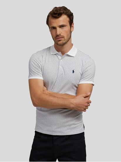 Bild von Polo-Shirt mit Allover-Print im Slim Fit