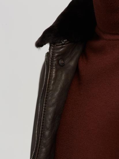 Bild von Wattierte Lederjacke mit Lammfellkragen
