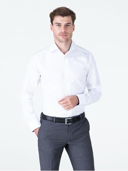 Bild von Hemd im Slim Fit mit leichter Fischgratstruktur