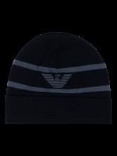 Bild von Mütze mit Streifen und Logo