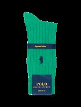 Bild von Socken mit Rippen und Logo