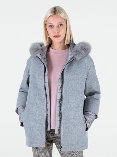 Image sur Veste en laine doublée doudoune avec col en fourrure