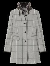 Image sur Manteau laine à carreaux et col fausse fourrure