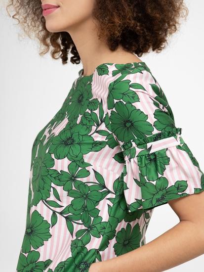 Image sur Robe avec imprimé fleuri et rayures