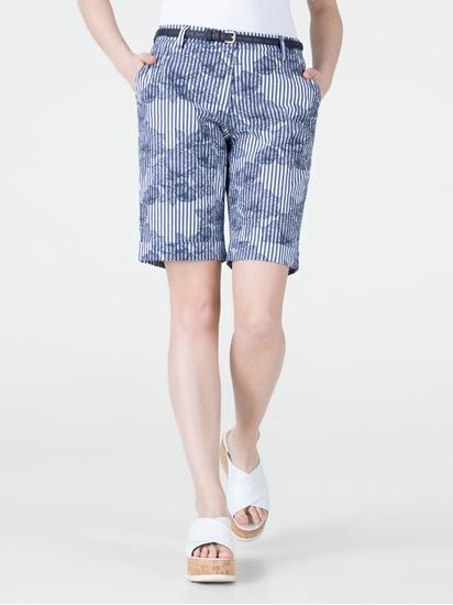 Image sur Short chino à rayures et imprimé fleuri