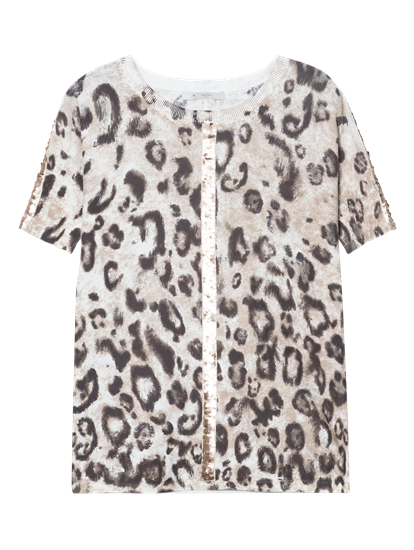 Bild von Pullover mit Leoparden Muster und Pailletten