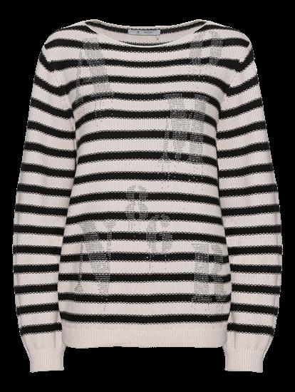 Image sur Pullover maille à rayures et pierres de strass