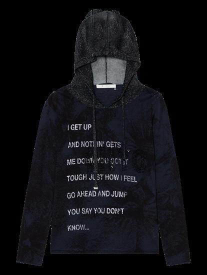 Image sur Pullover maille avec imprimé et capuche