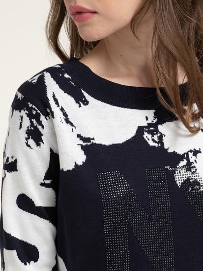 Image sur Pullover avec imprimé et pierres de strass