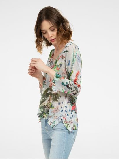 Image sur Pullover aus Leinen mit Blumen-Print