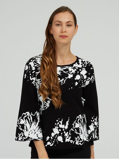 Image sur Pullover imprimé et pierres de strass
