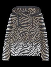 Image sur Pullover maille avec capuche et imprimé