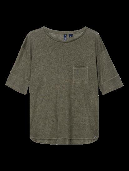 Bild von T-Shirt aus Leinen mit Brusttasche