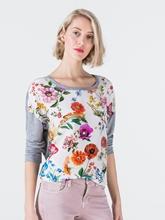 Image sur Shirt matériau mixte et imprimé fleurs