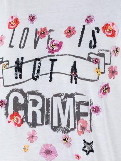 Bild von T-Shirt mit Blumenstickerei und Pailletten