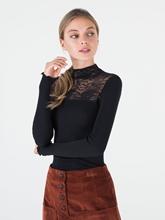 Bild von Shirt mit Spitze und Stehkragen