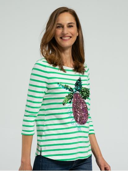 Bild von Shirt aus Flammgarn mit Streifen und Pailletten