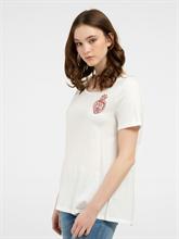 Bild von T-Shirt aus Material-Mix mit Plissee und Logo-Stickerei