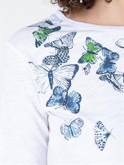 Image sur T-Shirt mit Print und Strasssteinen