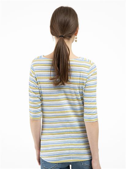 Bild von Shirt mit Wasserfall-Ausschnitt und Streifen