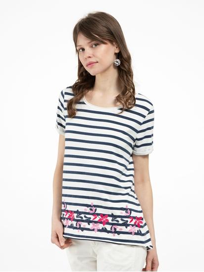 Bild von T-Shirt mit Streifen und Stickerei