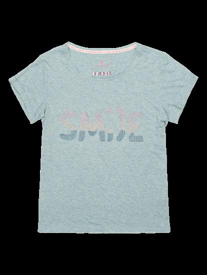 Image sur T-shirt moucheté et pierres de strass