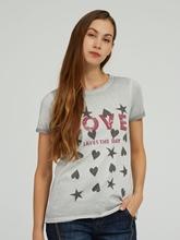 Bild von T-Shirt mit Print und Strasssteinen
